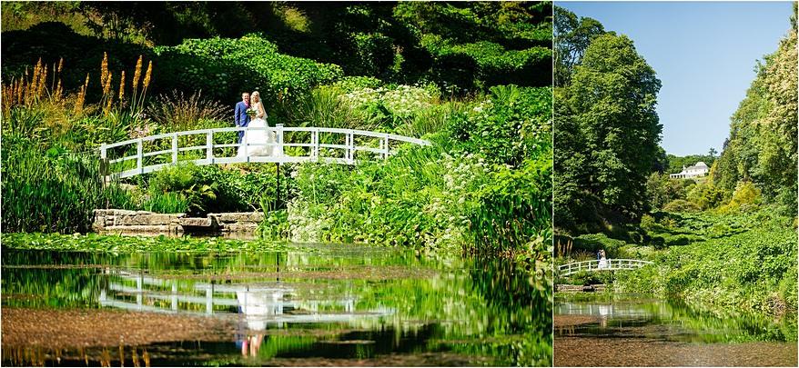 Bride and groom on the bridge at a Trebah Garden wedding
