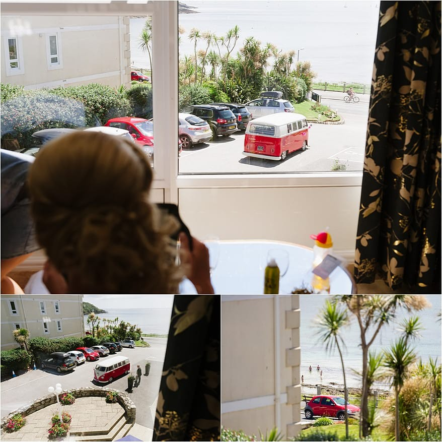 Bride getting ready at the Duchy Hotel in Falmouth