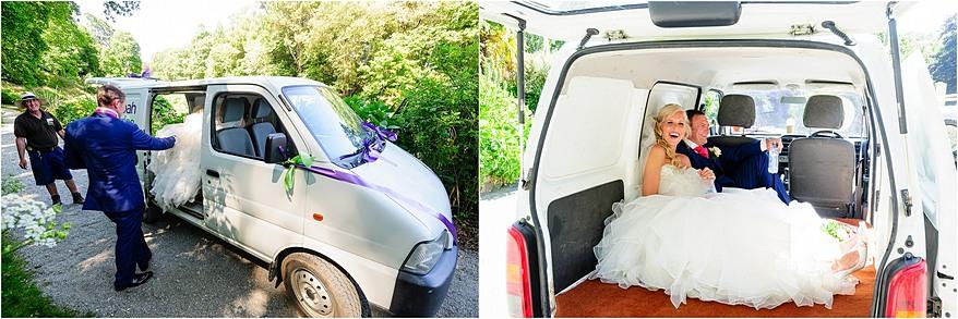 trebah garden van taking the bride up to the House