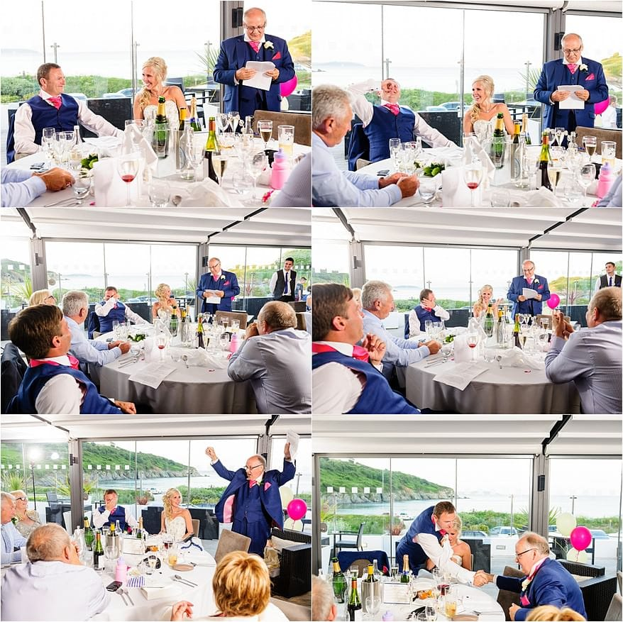 Wedding speeches at the Cove Restaurant wedding