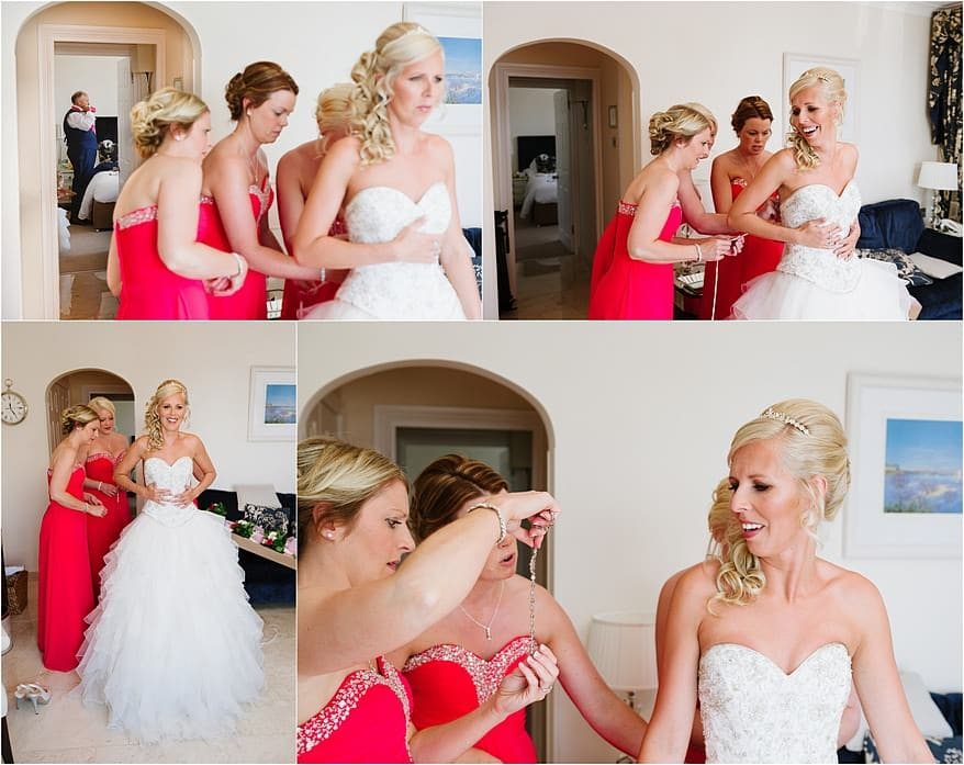 Bride getting her wedding dress on at the Duchy Hotel in Falmouth