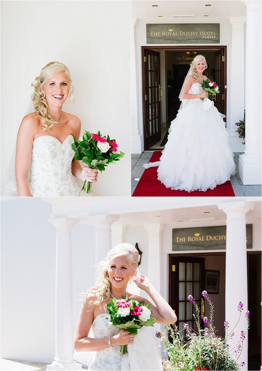 bride outside the front of the Duchy Hotel in Falmouth