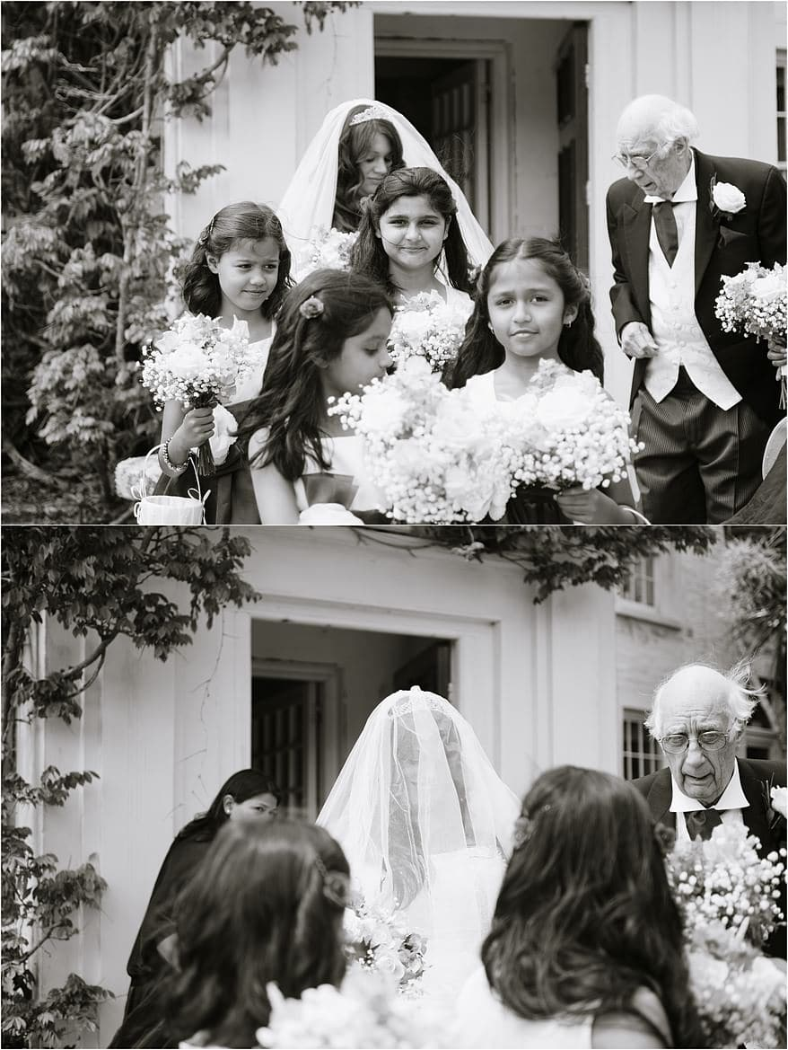 Bride and flower girls at a Trebah gardens wedding