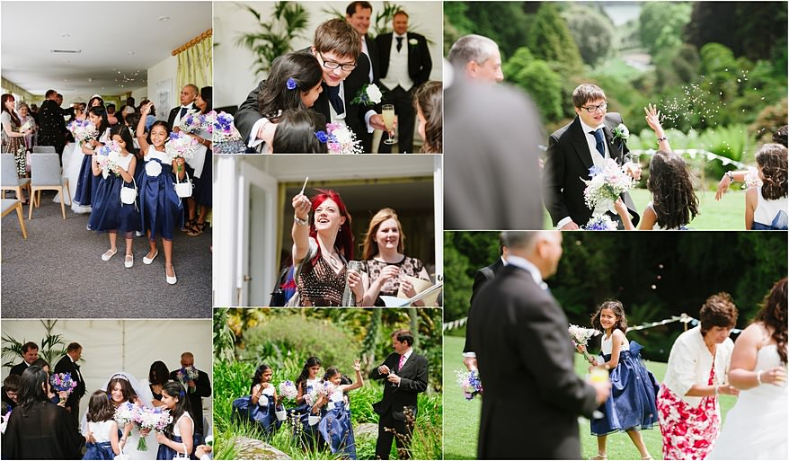 candid photographs of wedding guest at a Trebah Gardens wedding