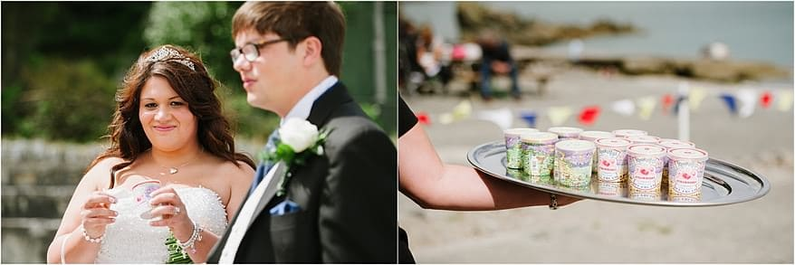 Bride eating ice cream at the beach for her wedding at Trebah Gardens