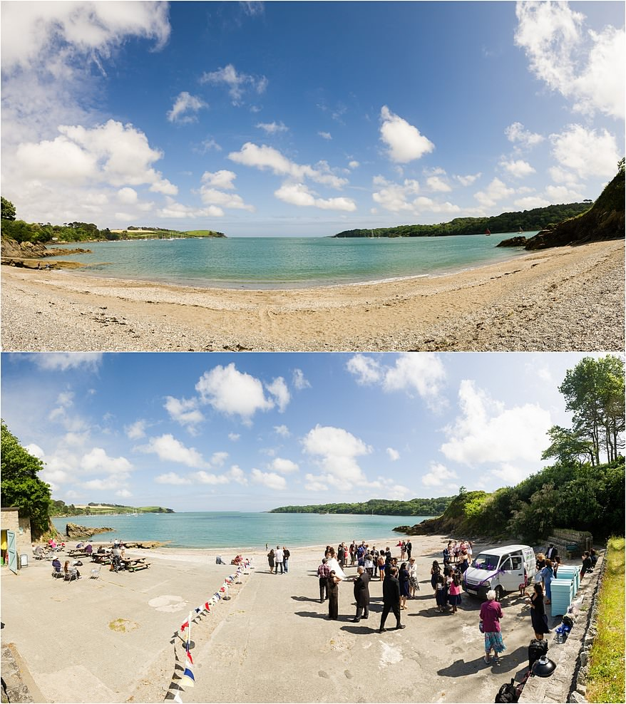 Views over the Helford river from the private beach at Trebah Gardens