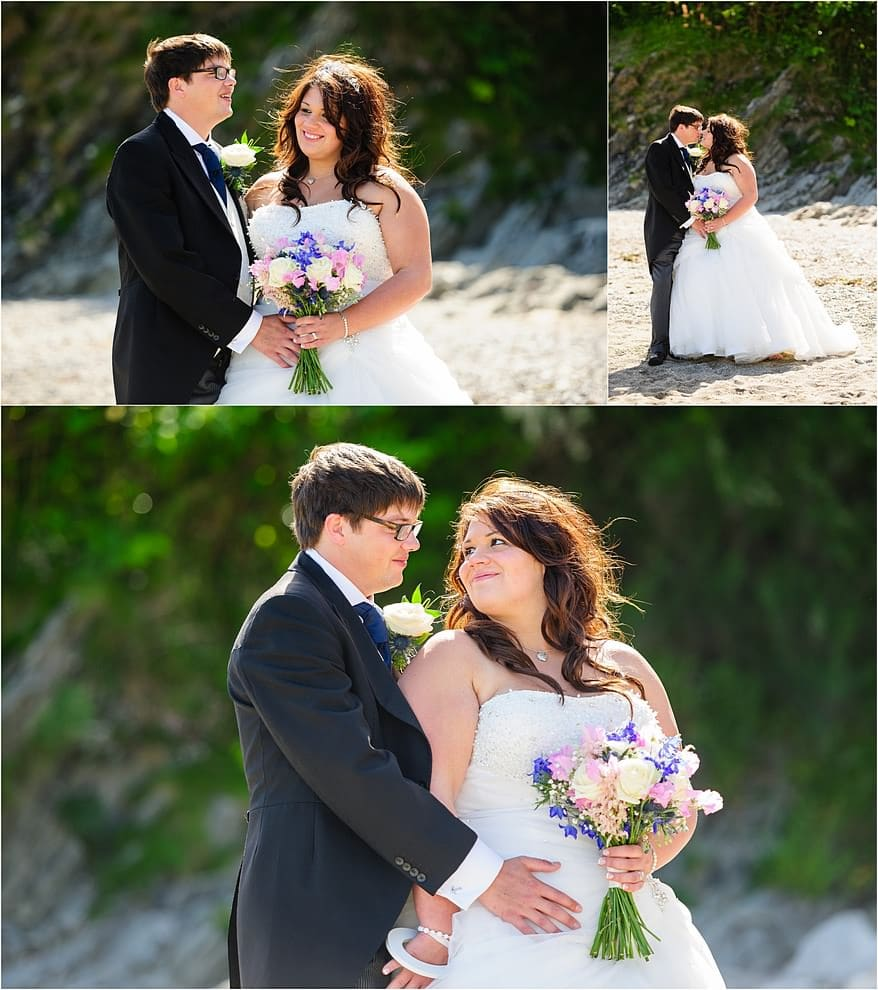 Bridal photographs on the beach at a Trebah Gardens wedding