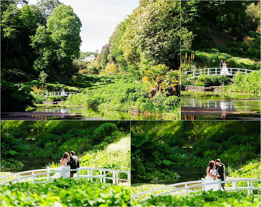 Bride and groom on the bride at my latest wedding at Trebah Gardens