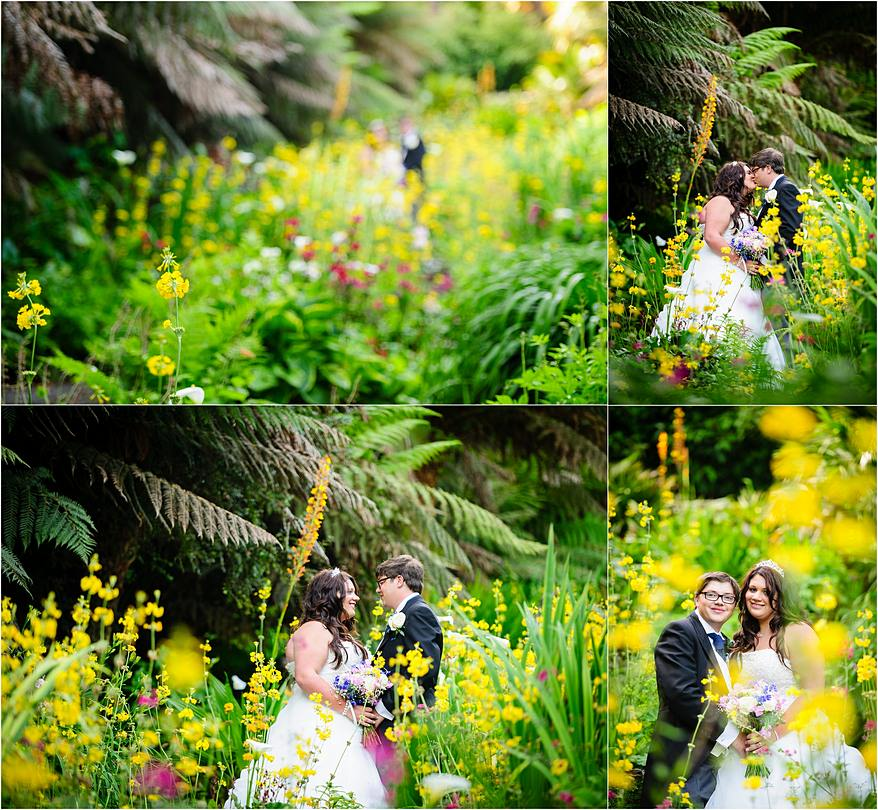 Bridal portraits in the water gardens at Trebah in Cornwall