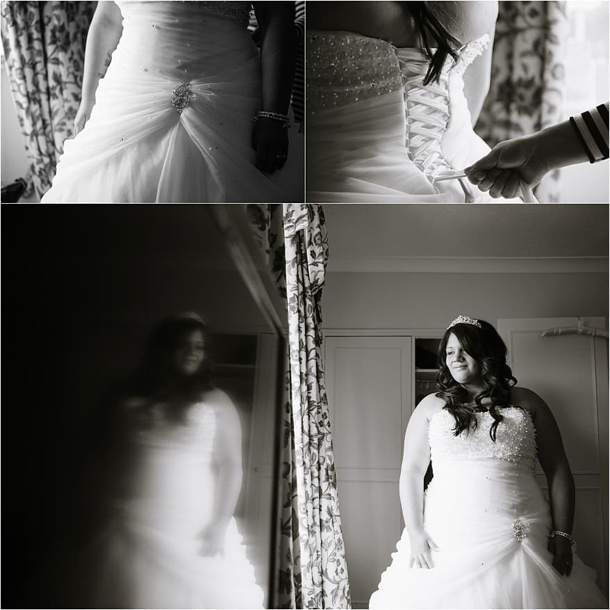 Bride getting ready for her wedding at Budock Vean Hotel
