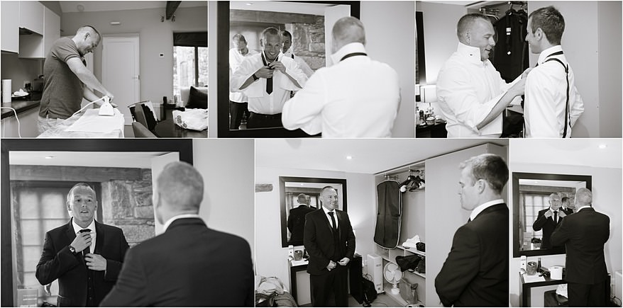 Groom getting ready for him barn weddings in cornwall