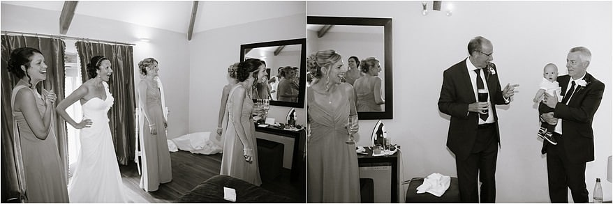 Bridesmaids getting ready for theirhim barn weddings in cornwall