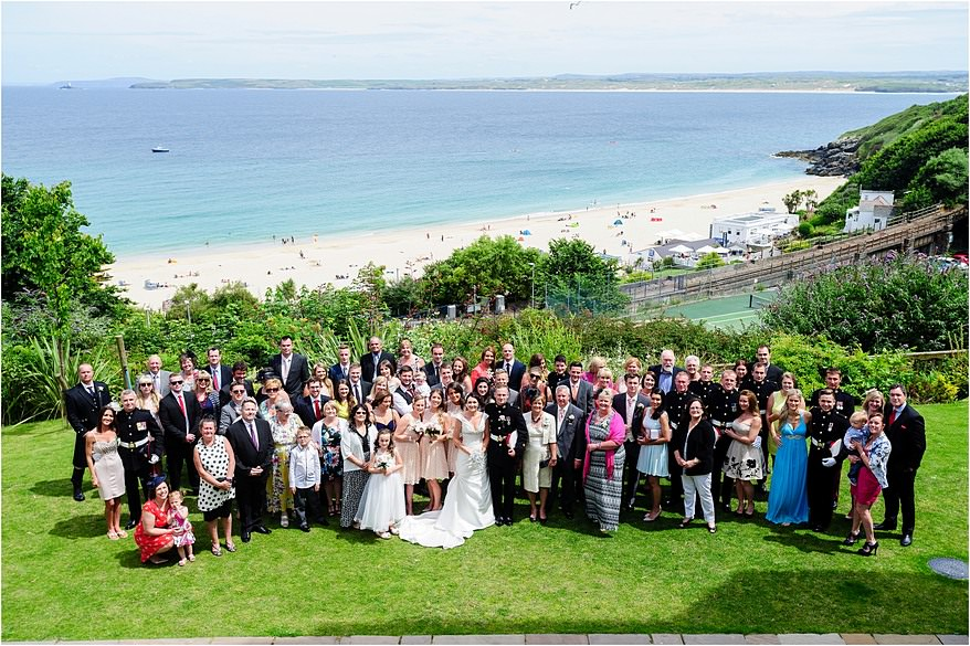 wedding group photograph at the St Ives Harbour Hotel Wedding