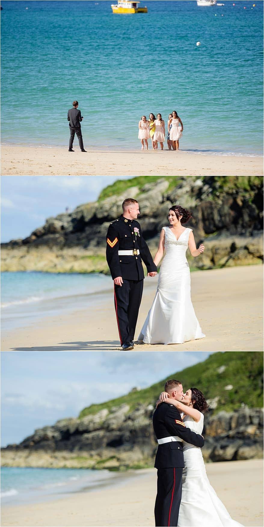 beach wedding photographs at a St Ives Harbour Hotel Wedding
