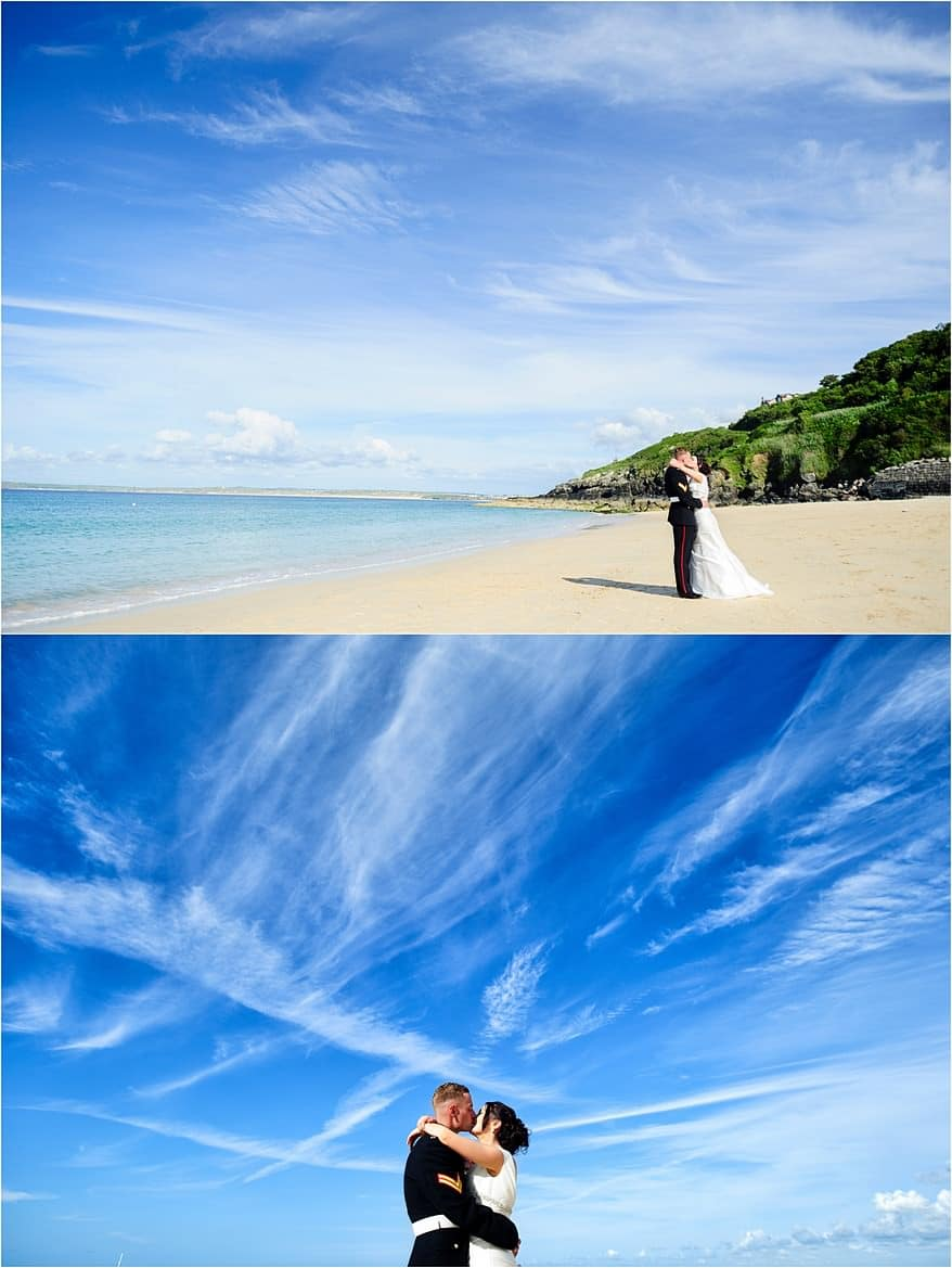 Blue sky wedding at the St Ives Harbour Hotel