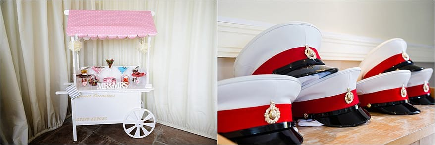 Sweet cart and Marine hats at the St Ives Harbour Hotel Wedding