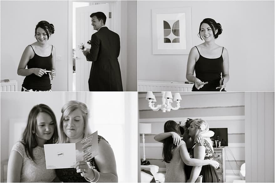 Bride with friends at her St Ives Harbour Hotel wedding