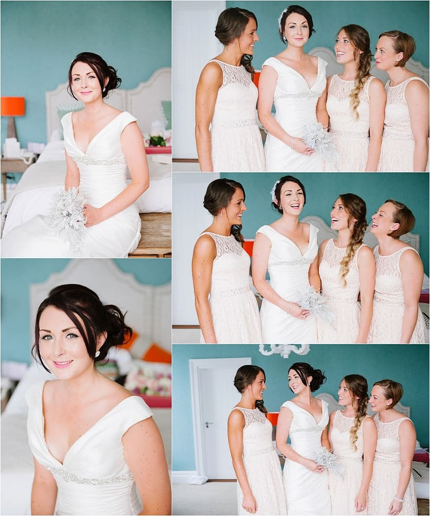 Bride and her bridesmaids getting ready for a St Ives Harbour Hotel Wedding