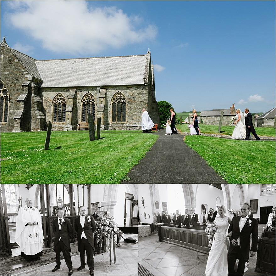 Bride arriving at St Columb church