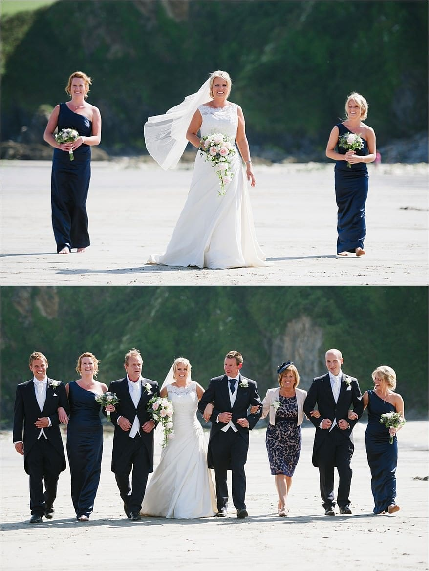 Bide and groom wedding photographs at Porthpean Beach