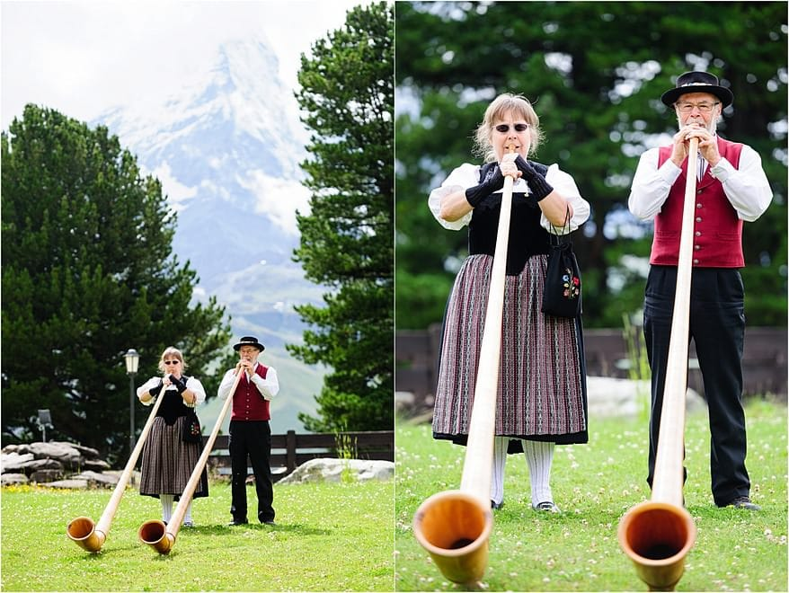 Alphorn players for a wedding at Riffelalp Hotel