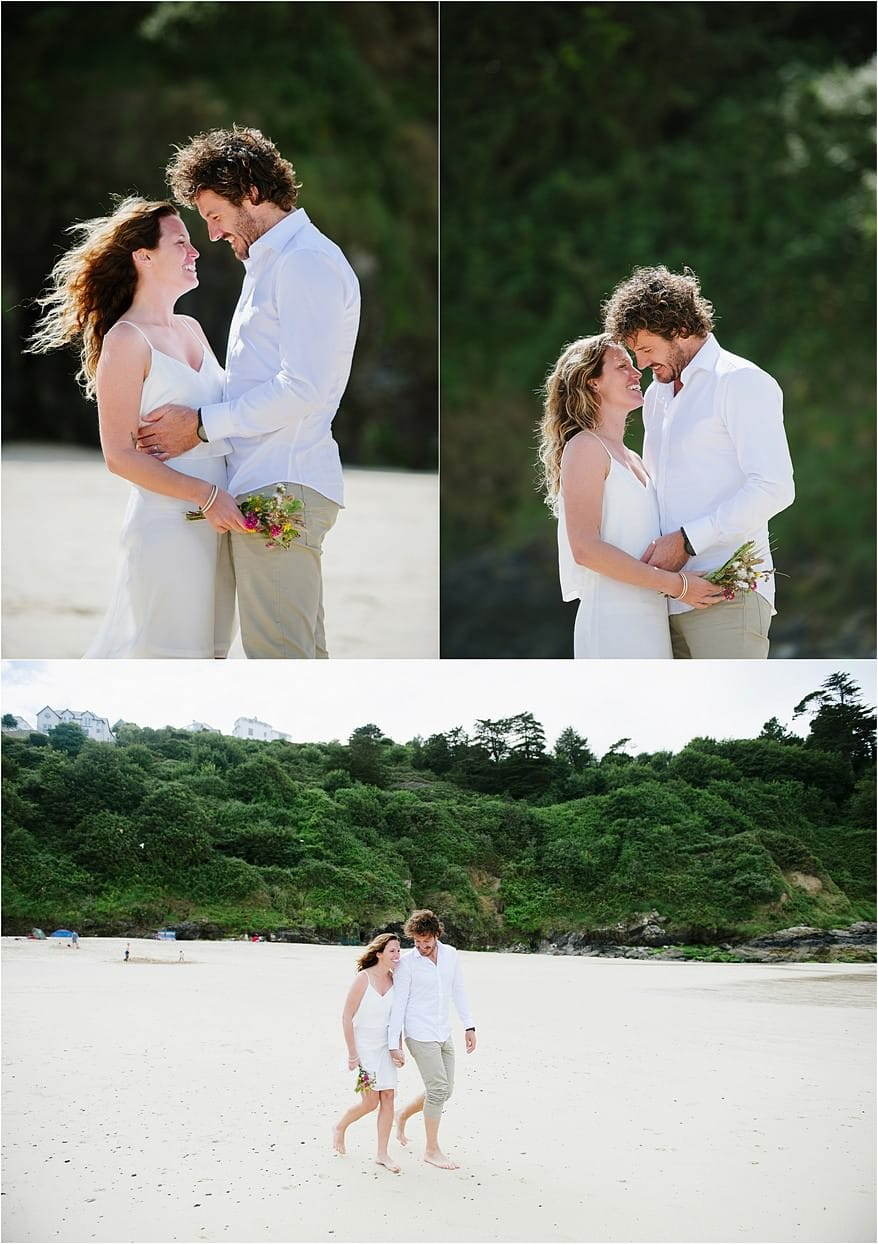 Bridal wedding photographs on Carbis Bay hotels beach