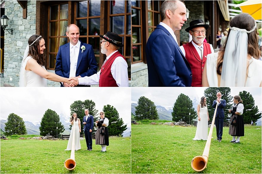 Bride and groom blowing at Alphorn at a zermatt wedding