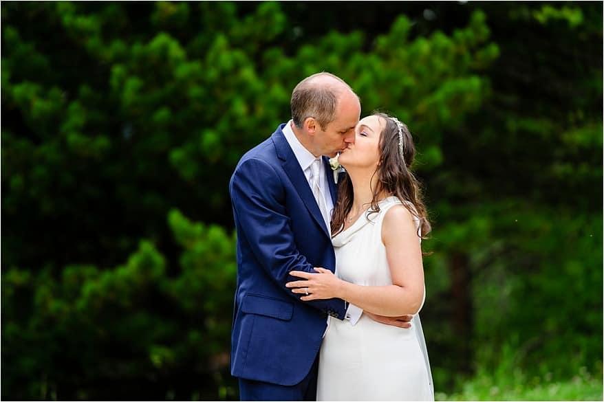 Bride and groom kissing at a zermatt wedding