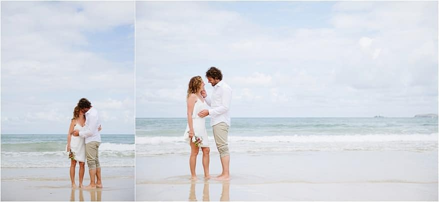 Bride and groom on the beach at Carbis Bay hotel