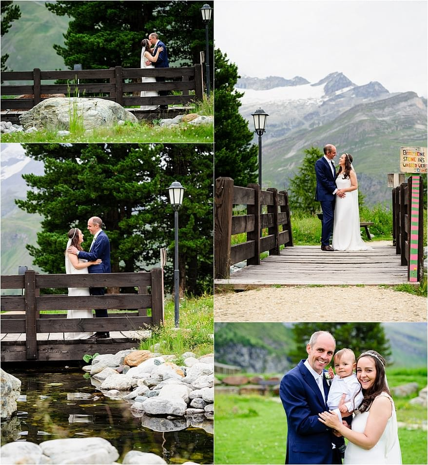 Bride and groom on the bride at Riffelalp Resort Hotel