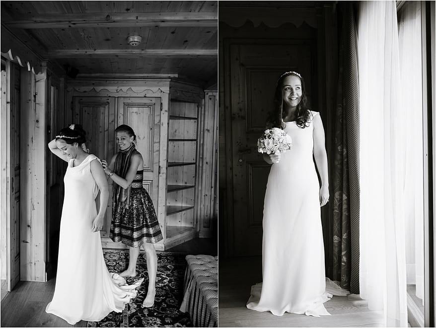 Bride getting ready for her summer wedding at Riffelalp Hotel