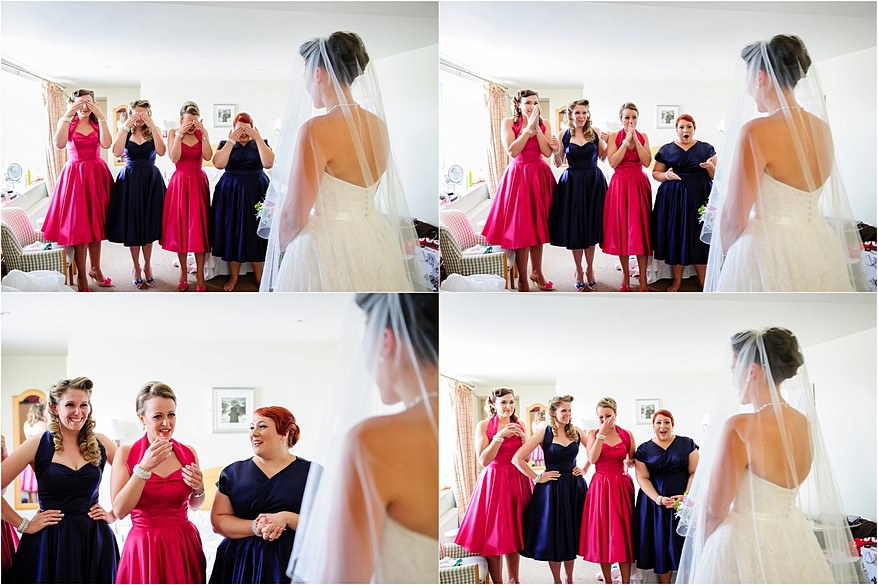 Bridemaids seeing the wedding dress for the first time