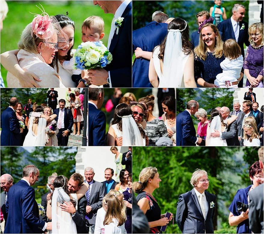 Candid wedding photographs for a wedding in Zermatt