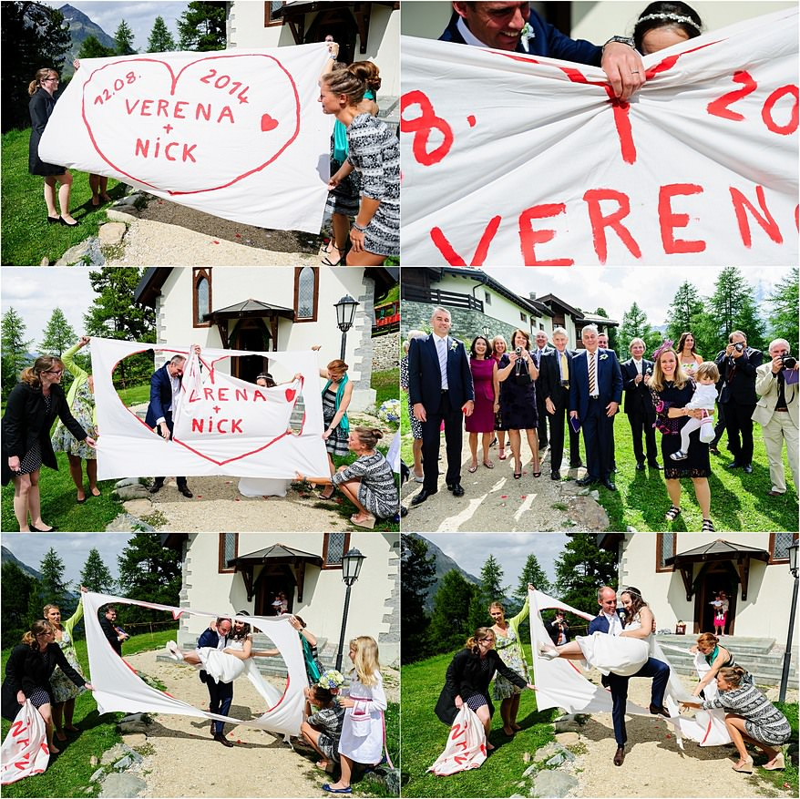 German wedding traditions at a wedding in Zermatt