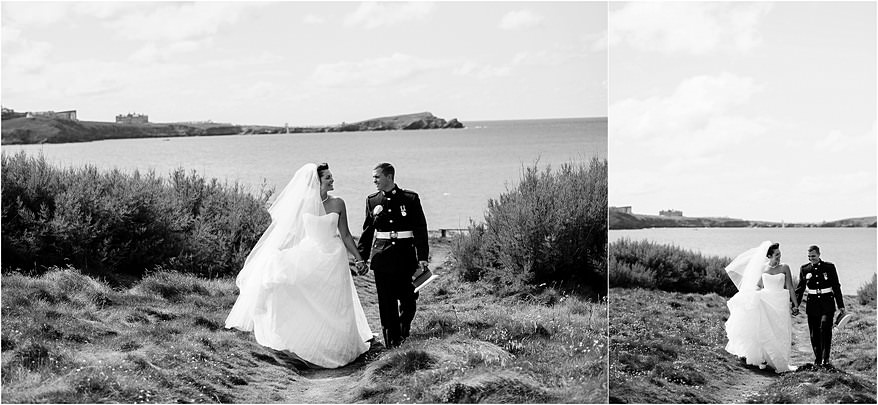 Newquay wedding photographs with the bride and groom