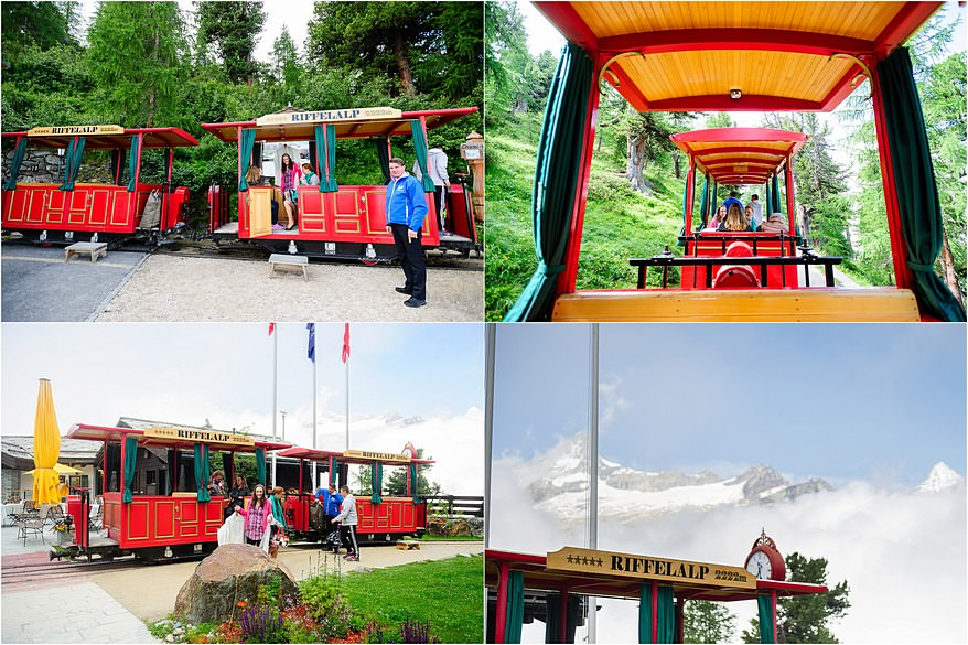 Riffelalp Resort train taking the bridal party to the hotel
