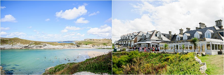 Sea views from a Glendorgal hotel wedding