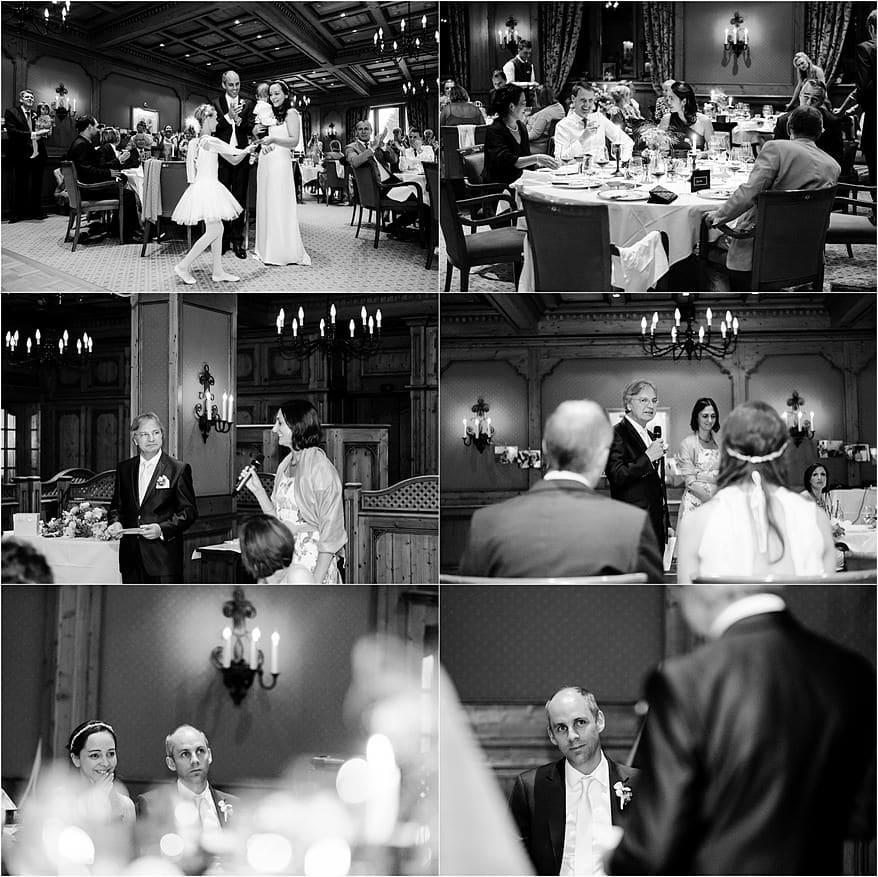 Wedding speeches at the Riffelalp Resort hotel