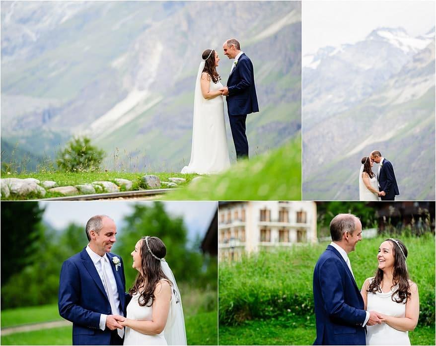 bride and groom portraits for their summer wedding in Zermatt