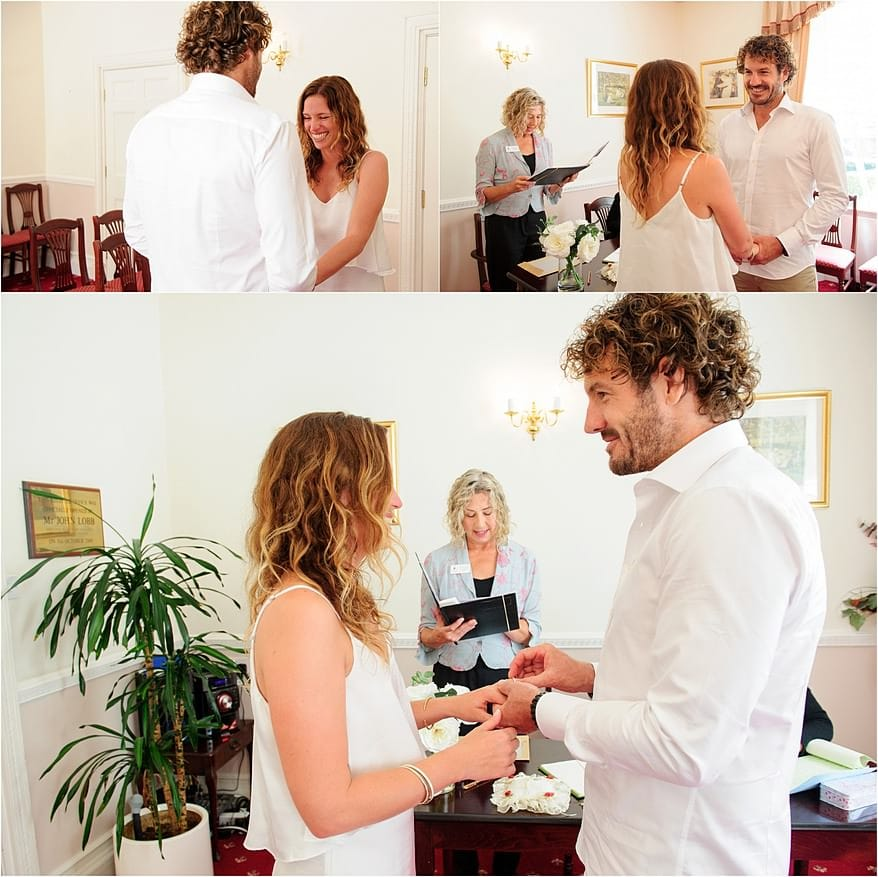 exchanging of the rings at penzance registry office