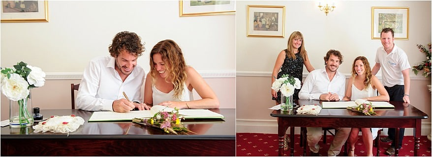 signing of the register at penzance registry office