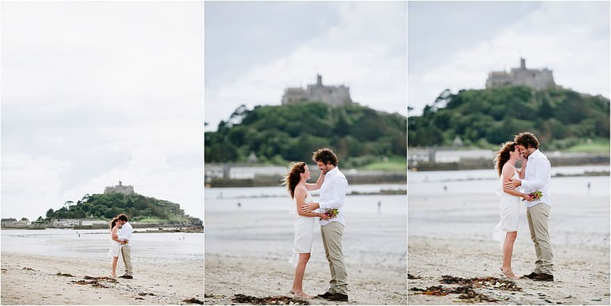 wedding photographs with St Michaels Mount