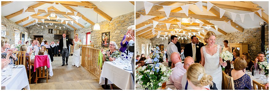 Bride and groom entering their wedding reception at Knightor vinery