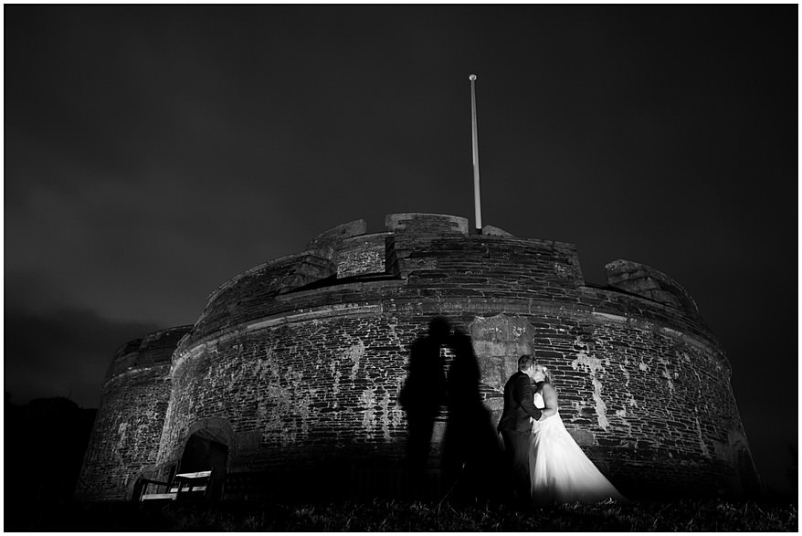 Bride and groom kissing at their St Mawes Castle wedding