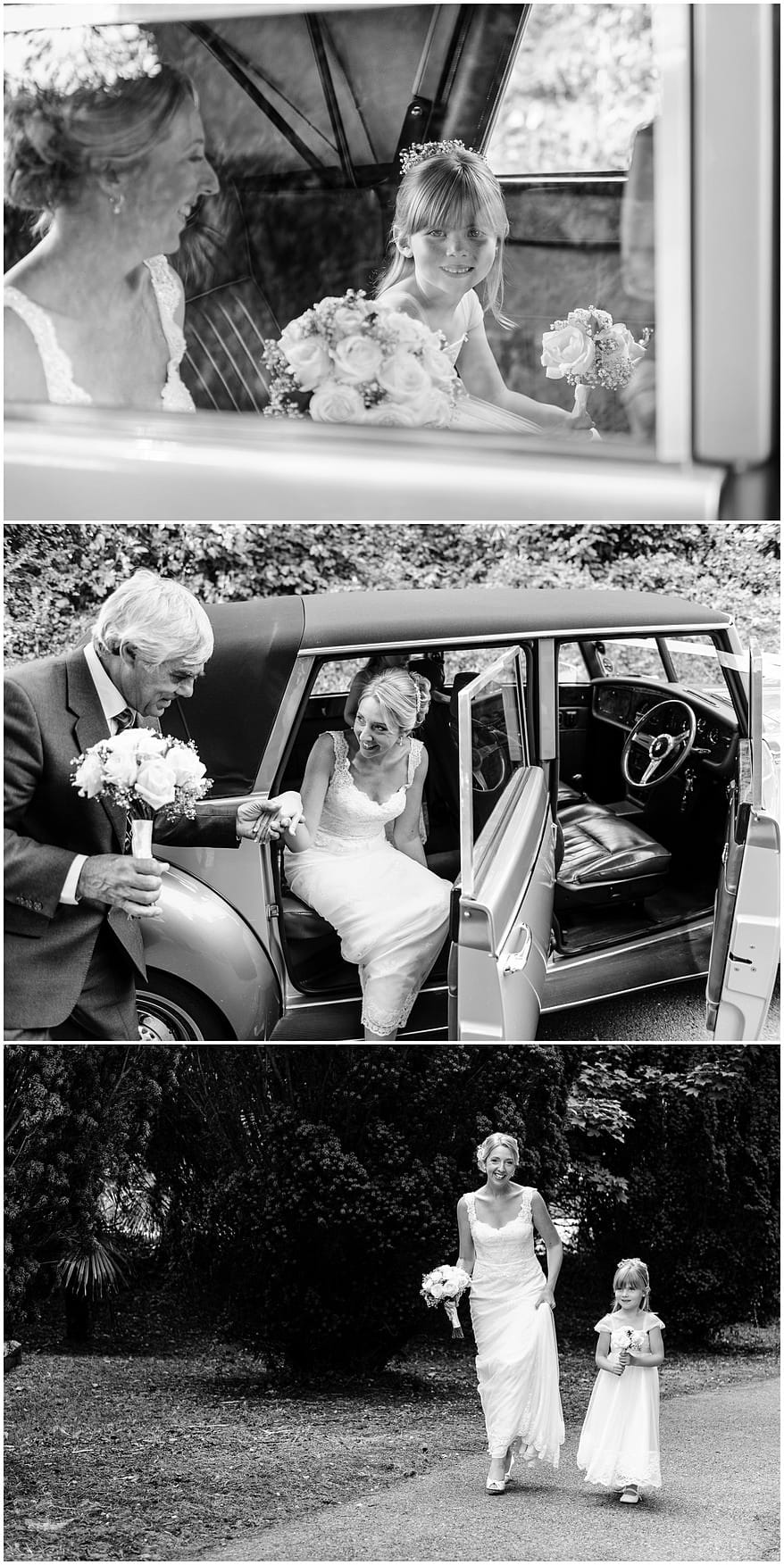 Bride arriving for her wedding at St Mewan Church