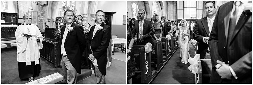 Bride walking down the aisle at St Mewan church
