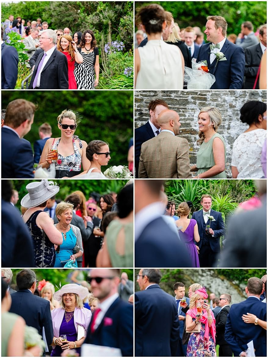 Candid Photographs of wedding guests at St Mawes castle
