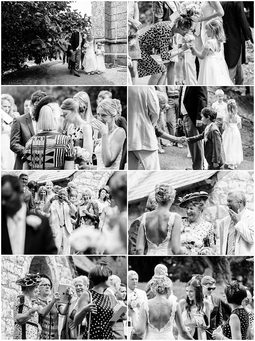 Candid photographs of wedding guests outside St Mewan Church