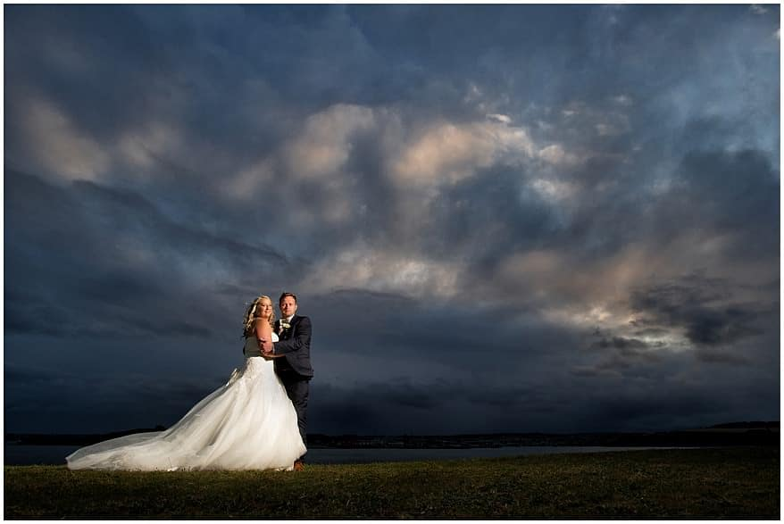 Dramatic skies at a St Mawes Castle wedding