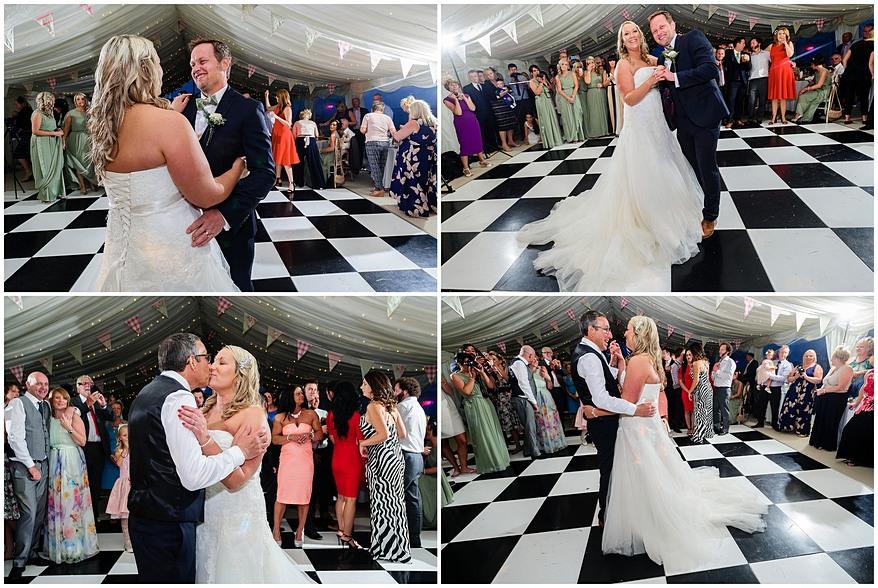 First dance wedding photographs on a checkerboard dance floor